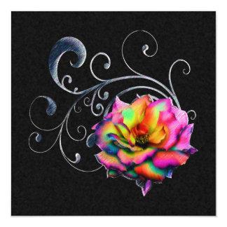 Swirly Rainbow Rose 13 Cm X 13 Cm Square Invitation Card