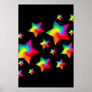 Swirly Rainbow Stars Poster