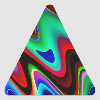 Swirly Red Black Blue Abstract Triangle Sticker