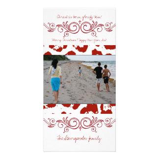 Swirly Red Photo Card