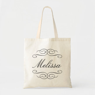 Swirly script bridesmaid personalized gift tote budget tote bag