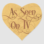 Swirly Script Calligraphy As Seen on TV Brown Heart Sticker