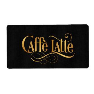 Swirly Script Calligraphy Caffe Latte Gold Black