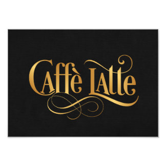 Swirly Script Calligraphy Caffe Latte Gold Black Photo Art