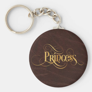 Swirly Script Calligraphy Princess Gold on Leather Basic Round Button Key Ring