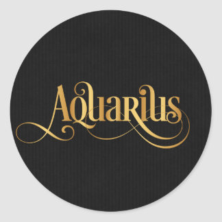 Swirly Script Zodiac Sign Aquarius Gold on Black Classic Round Sticker