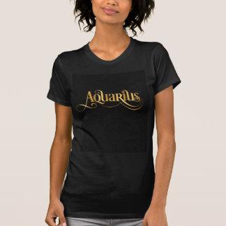 Swirly Script Zodiac Sign Aquarius Gold on Black T-Shirt