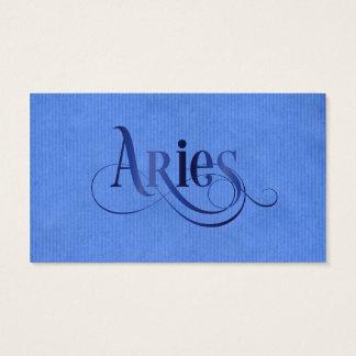 Swirly Script Zodiac Sign Aries Blue Kraft Business Card