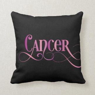 Swirly Script Zodiac Sign Cancer Pink on Black Cushion