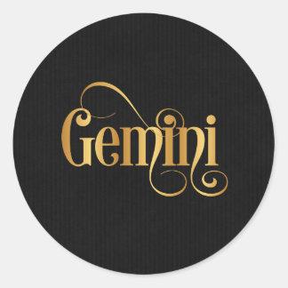 Swirly Script Zodiac Sign Gemini Gold on Black Classic Round Sticker