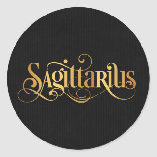Swirly Script Zodiac Sign Sagittarius Gold Black Classic Round Sticker