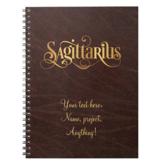 Swirly Script Zodiac Sign Sagittarius Gold Leather Notebook