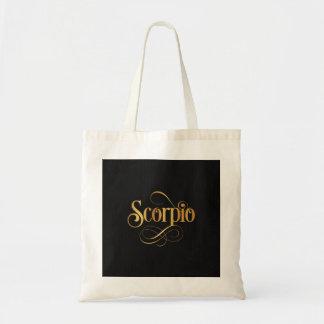 Swirly Script Zodiac Sign Scorpio Gold on Black