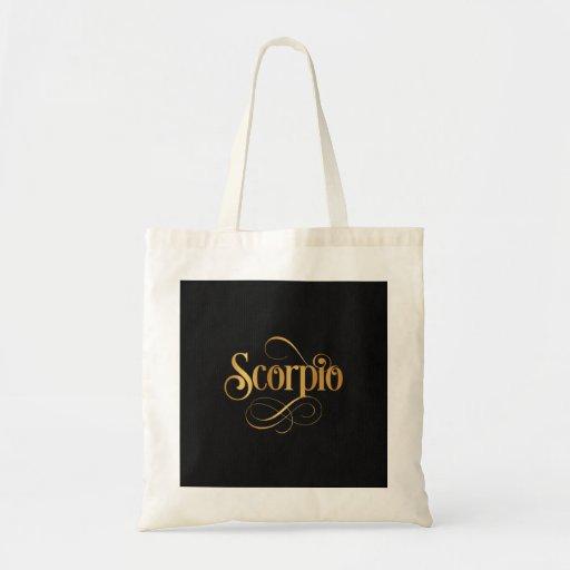Swirly Script Zodiac Sign Scorpio Gold on Black Canvas Bags