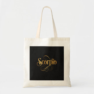 Swirly Script Zodiac Sign Scorpio Gold on Black Tote Bag