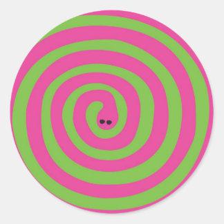 Swirly snake classic round sticker