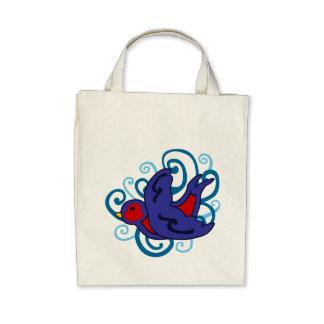 Swirly Swallow Tote Bags