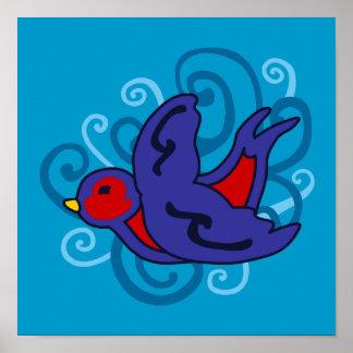 Swirly Tattoo Swallow Poster