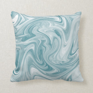 Swirly Teal Abstract Throw Pillow