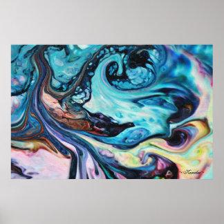 Swirly Tide Mixed Media Art by Karrilee in Pastels Poster