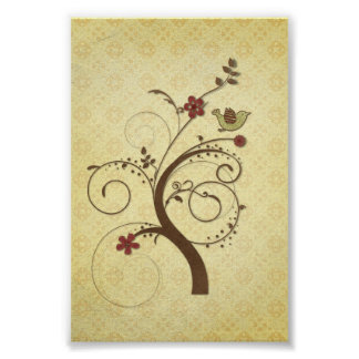 Swirly Tree with Bird Cute Poster