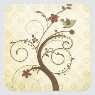 Swirly Tree with Bird Cute Stickers