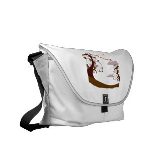 Swirly tree with flying birds graphic courier bags