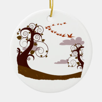 Swirly tree with flying birds graphic round ceramic decoration