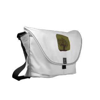 Swirly tree with olive background n hearts commuter bag