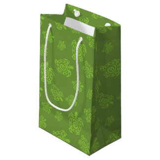 Swirly Turtle Green Pattern Small Gift Bag