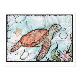 swirly Turtle Postcard