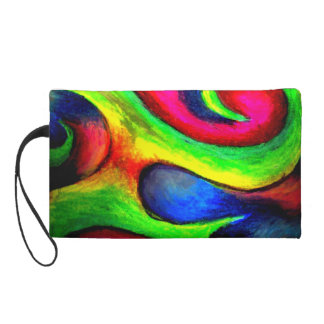 Swirly Twirly Neon Pattern Wristlet