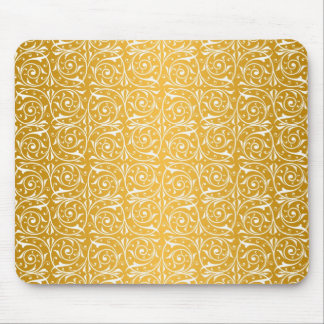 Swirly Vines in Yellow Pattern Mouse Pad