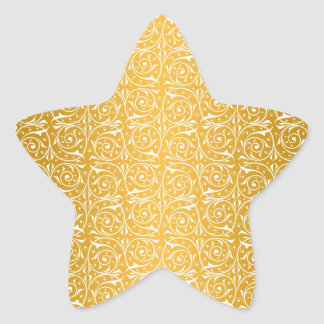 Swirly Vines in Yellow Pattern Star Stickers