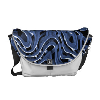 Swiryly Blue Chrome Abstract Art Courier Bag