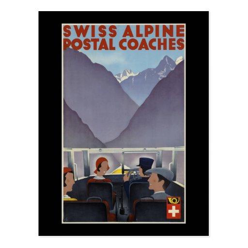 Swiss alpine postal coaches post card