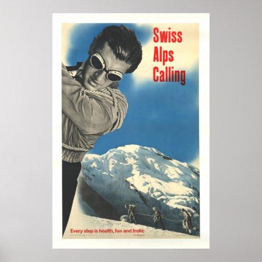 Swiss Alps Calling, Vintage Ski Poster
