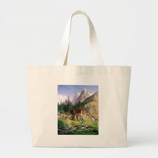Swiss Alps Log Cabin painting Canvas Bag