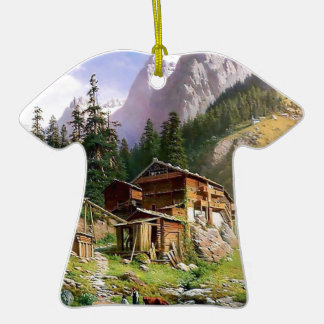 Swiss Alps Log Cabin painting Christmas Ornaments