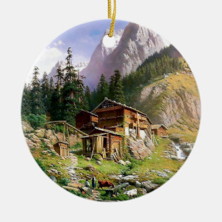 Swiss Alps Log Cabin painting Double-Sided Ceramic Round Christmas Ornament