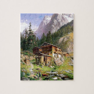 Swiss Alps Log Cabin painting Jigsaw Puzzle