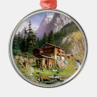 Swiss Alps Log Cabin painting Silver-Colored Round Decoration