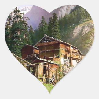Swiss Alps Log Cabin painting Heart Sticker
