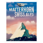 Swiss Alps Matterhorn travel poster