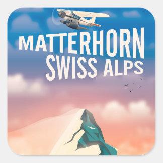Swiss Alps Matterhorn travel poster Square Sticker