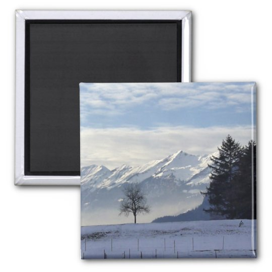 Swiss alps square magnet