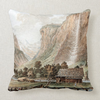 Swiss Alps Waterfall Cabin River Throw Pillow
