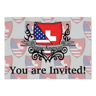 Swiss-American Shield Flag 13 Cm X 18 Cm Invitation Card