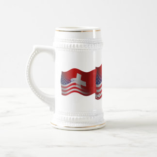 Swiss-American Waving Flag Beer Stein