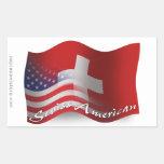 Swiss-American Waving Flag Rectangular Stickers